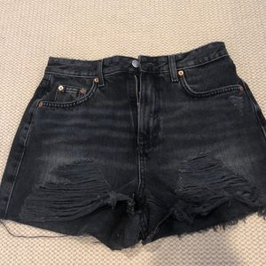 Topshop Black Distressed Mom Shorts